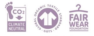 Logos de certificacion GOTS, fair wear foundation y climate neutral
