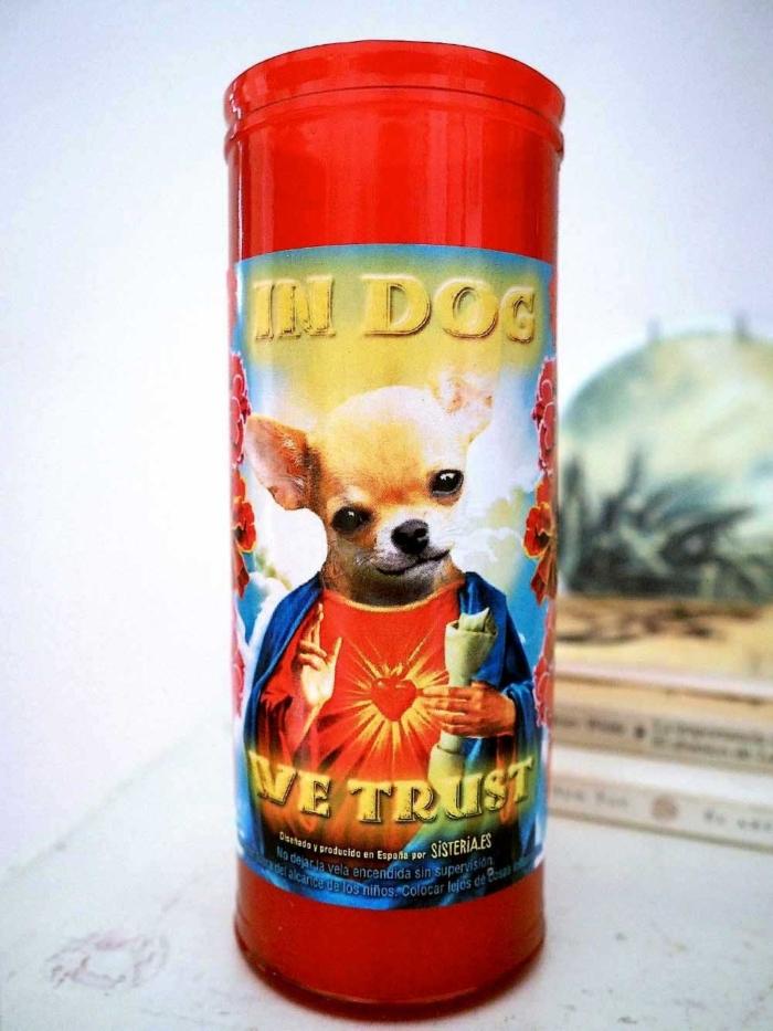 """velon rojo con imagen divertida de perro chihuahua santo y texto """"in dog we trust"""" de Sisteria Shop"""