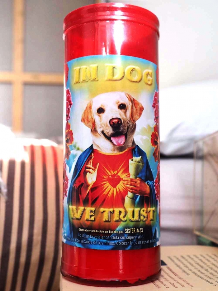 "velon rojo con imagen divertida de perro labrador retriever santo y texto ""in dog we trust"" de Sisteria Shop"