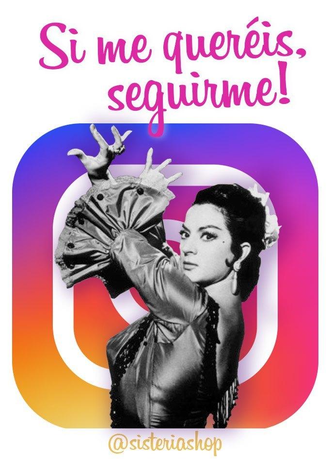 lola flores sobre logo de instagram de Sisteria Shop y texto gracioso
