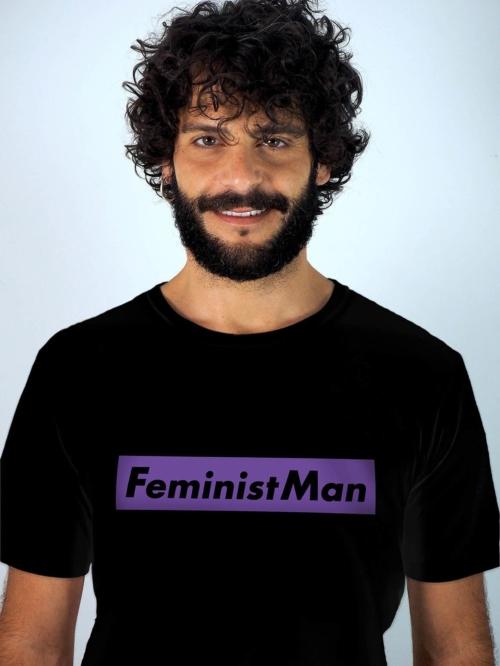 Sisteria Shop camiseta negra de hombre de algodon organico con mensaje feminista