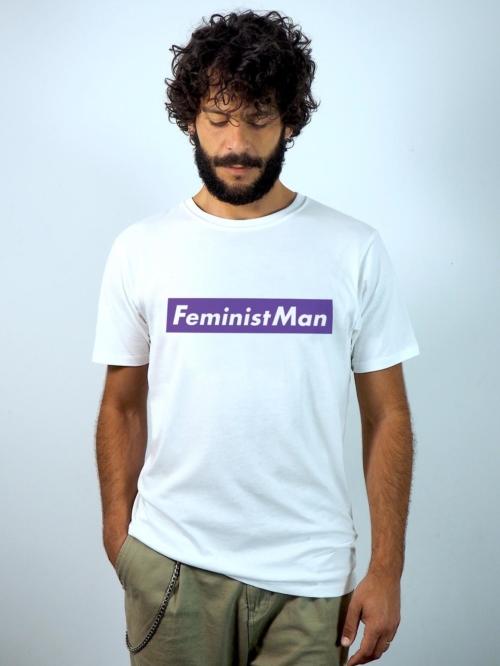 Sisteria Shop Camiseta blanca de hombre en algodon organico y con mensaje feminista