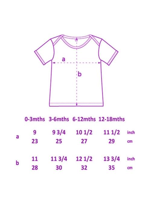 dibujo de camiseta con tallas de bebe de Sisteria Shop