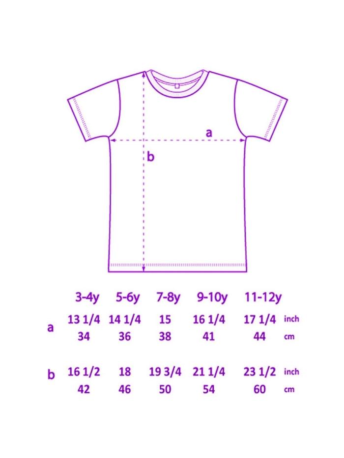 imagen con tallas de camiseta de niños de Sisteria Shop