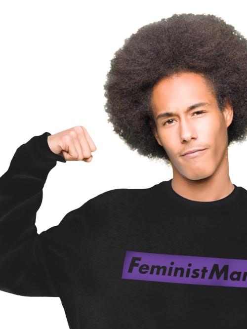 Sisteria Shop Sudadera Negra de hombre en algodon organico y con mensaje feminista